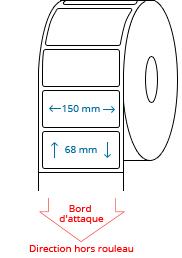 150 mm x 68 mm Étiquettes à rouleaux