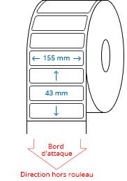 155 mm x 43 mm Étiquettes à rouleaux