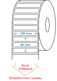 190 mm x 40 mm Étiquettes à rouleaux
