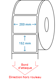 203 mm x 152 mm Étiquettes à rouleaux