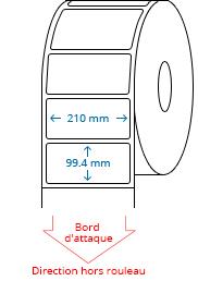 210 mm x 99.4 mm Étiquettes à rouleaux