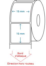 15 mm x 15 mm Étiquettes à rouleaux