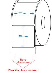 25 mm x 25 mm Étiquettes à rouleaux