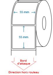 55 mm x 55 mm Étiquettes à rouleaux