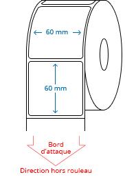 60 mm x 60 mm Étiquettes à rouleaux