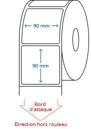 90 mm x 90 mm Étiquettes à rouleaux