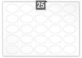 25 étiquettes ovale par feuille -  75 mm x 51 mm