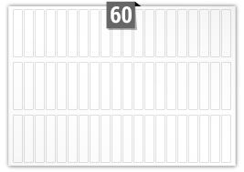 60 étiquettes  rectangulaires par feuille -  19 mm x 95 mm