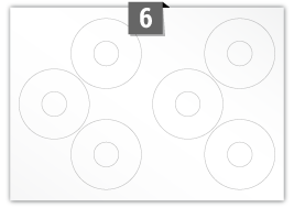 6 Circular Labels per SRA3 sheet