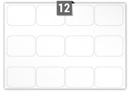 12 étiquettes  rectangulaires par feuille -  107 mm x 77 mm