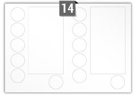 14 étiquettes irreguliere par feuille -  124.647 mm x 239.647 mm / 49.647 mm Diamètre