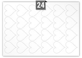 24 étiquettes  cœur par feuille -  69.050 mm x 69.563 mm