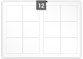 12 Rectangle Labels per SRA3 sheet - 96 mm x 92 mm