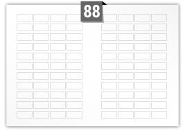 88 étiquettes  rectangulaires par feuille -  39 mm x 19 mm