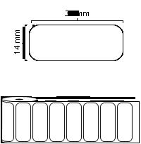 34 mm x 14 mm Étiquettes à rouleaux